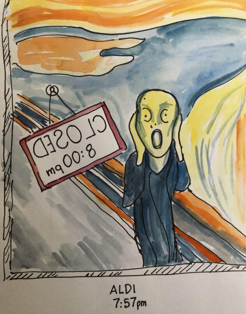 The Scream Outside Aldi